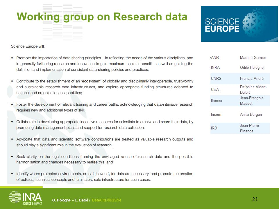 O. Hologne – E. Dzalé / DataCite 08/25/14 Working group on Research data 21