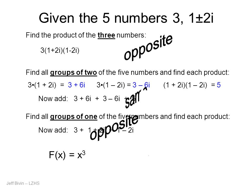 Jeff Bivin -- LZHS Given the 5 numbers 3, 1±2i Find the product of the three numbers: Find all groups of two of the five numbers and find each product: Now add: 3 + 6i + 3 – 6i + 5 = 11 3(1 + 2i) = 3 + 6i 3(1 – 2i) = 3 – 6i (1 + 2i)(1 – 2i) = 5 Now add: 3 + 1 + 2i + 1 – 2i = 5 Find all groups of one of the five numbers and find each product: 3(1+2i)(1-2i) = 3(1 - 4i 2 ) = 3(1 + 4) = 3(5) = 15 F(x) = x 3 – 5x 2 + 11x – 15