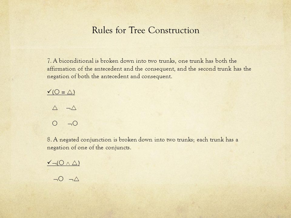 Rules for Tree Construction 9.