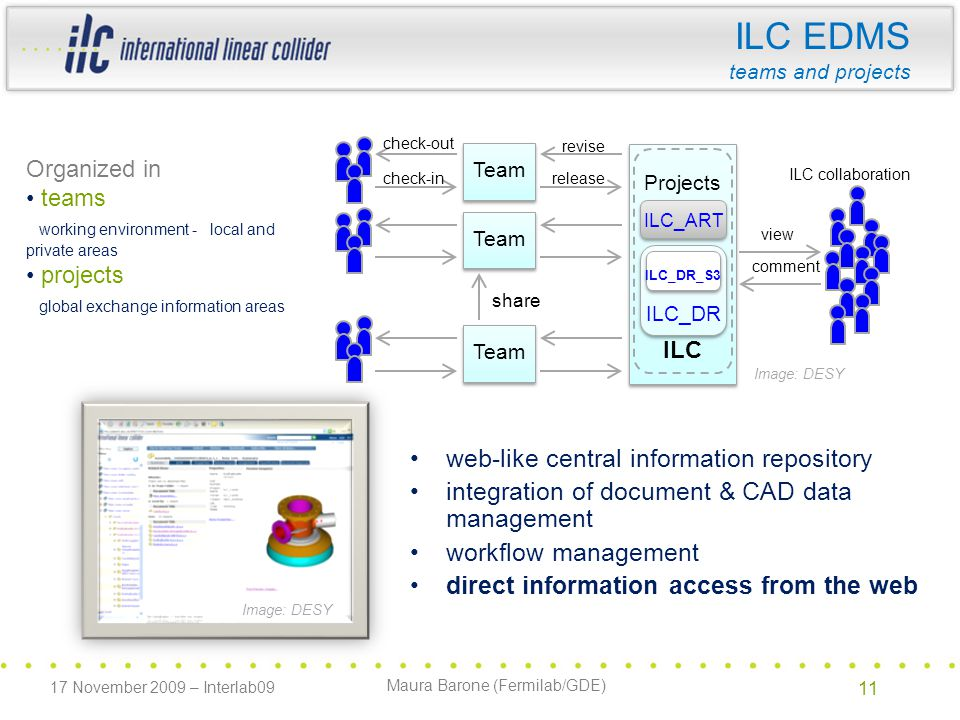 Maura Barone (Fermilab/GDE) ILC EDMS teams and projects web-like central information repository integration of document & CAD data management workflow management direct information access from the web Image: DESY Team Projects ILC collaboration share comment view check-out check-inrelease revise ILC ILC_ART ILC_DR ILC_DR_S3 Image: DESY Organized in teams working environment - local and private areas projects global exchange information areas 17 November 2009 – Interlab09 11