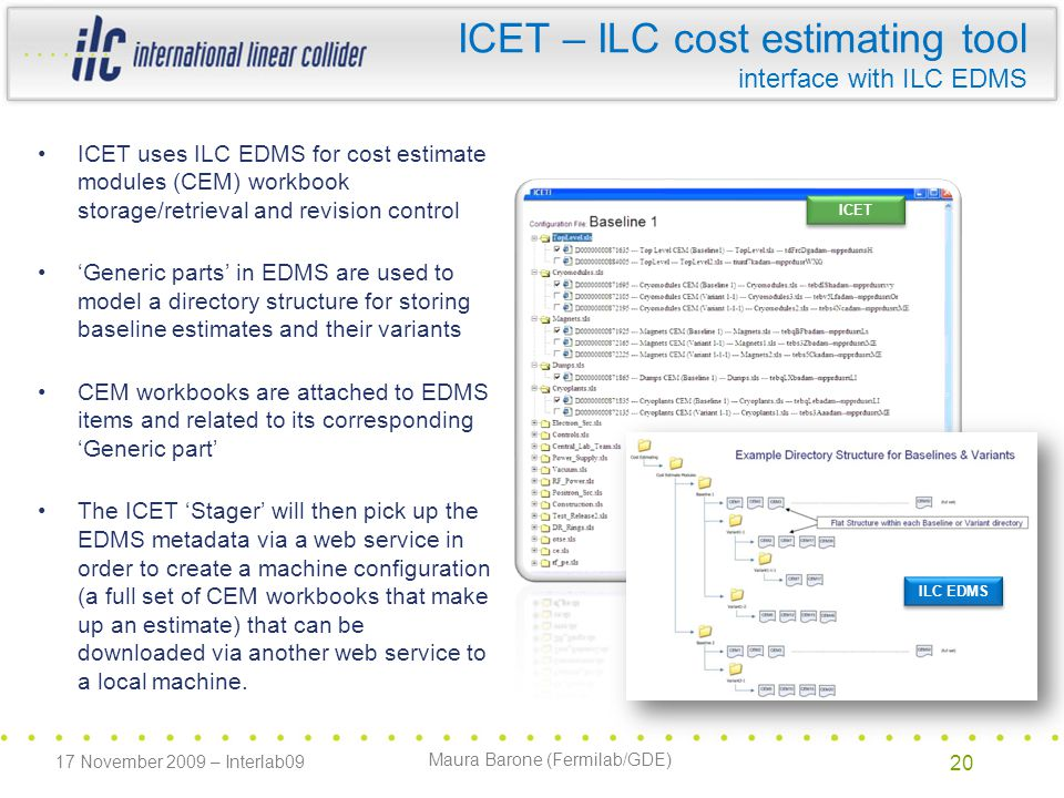 Maura Barone (Fermilab/GDE) ICET uses ILC EDMS for cost estimate modules (CEM) workbook storage/retrieval and revision control 'Generic parts' in EDMS are used to model a directory structure for storing baseline estimates and their variants CEM workbooks are attached to EDMS items and related to its corresponding 'Generic part' The ICET 'Stager' will then pick up the EDMS metadata via a web service in order to create a machine configuration (a full set of CEM workbooks that make up an estimate) that can be downloaded via another web service to a local machine.