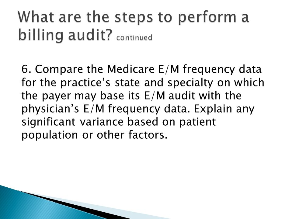 6. Compare the Medicare E/M frequency data for the practice's state and specialty on which the payer may base its E/M audit with the physician's E/M f