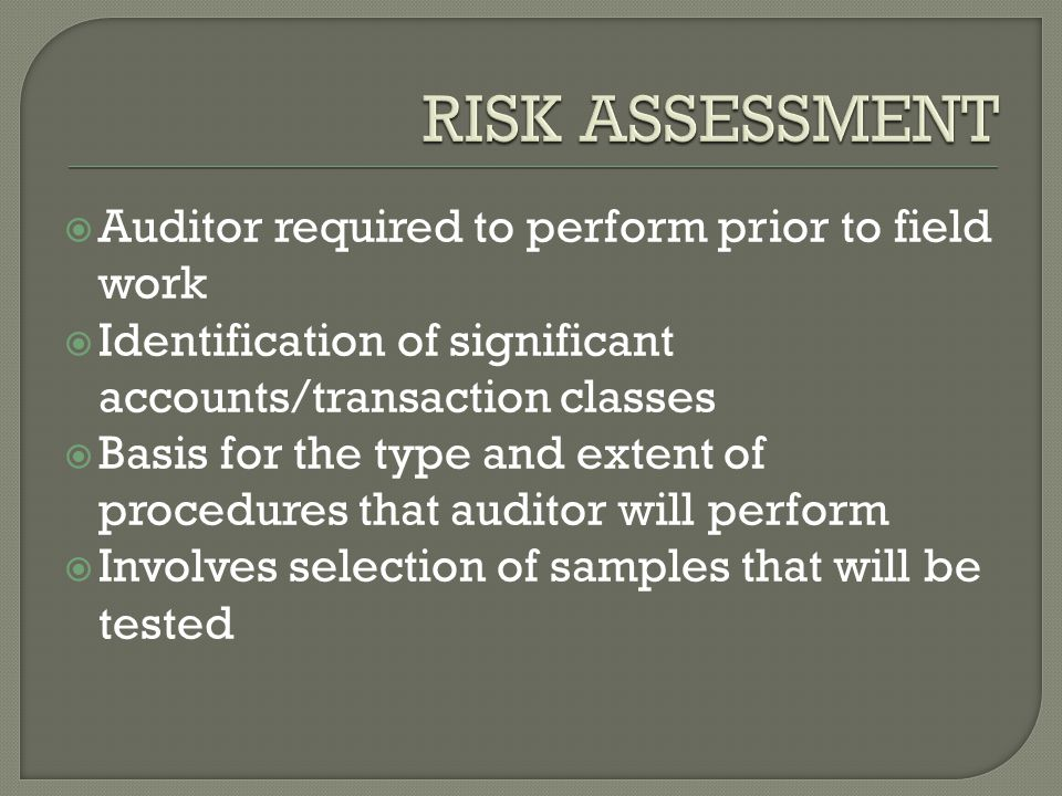  Auditor required to perform prior to field work  Identification of significant accounts/transaction classes  Basis for the type and extent of procedures that auditor will perform  Involves selection of samples that will be tested