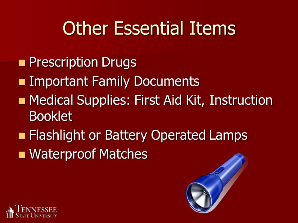 Other Essential Items cont.