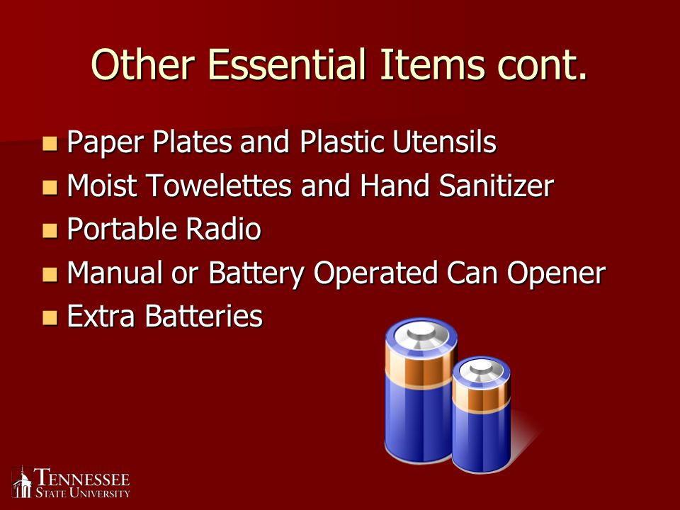 Comfort Items Include some comfort items if you have room.