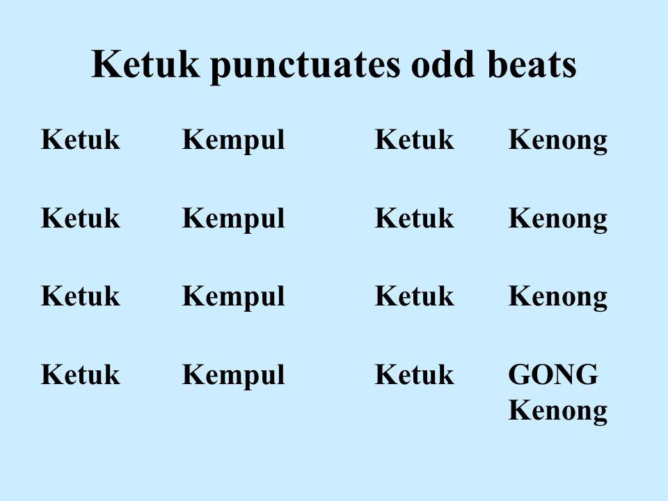 Ketuk punctuates odd beats Ketuk KempulKetukKenong Ketuk Kempul KetukGONG Kenong