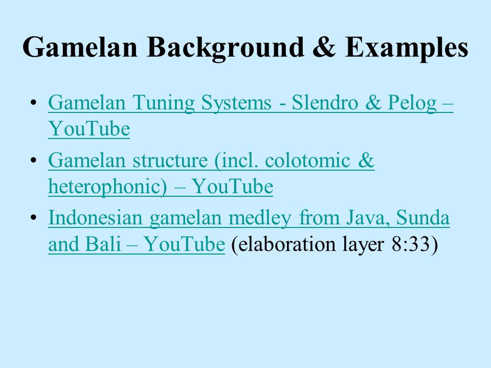 Gamelan Background & Examples Gamelan Tuning Systems - Slendro & Pelog – YouTubeGamelan Tuning Systems - Slendro & Pelog – YouTube Gamelan structure (incl.