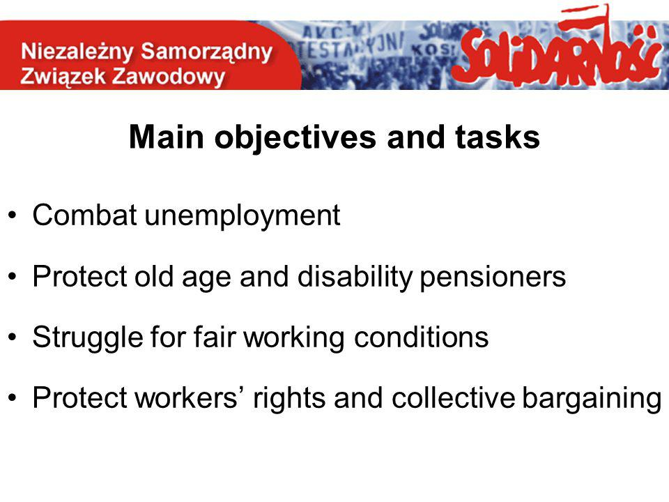 Main objectives and tasks Combat unemployment Protect old age and disability pensioners Struggle for fair working conditions Protect workers' rights a