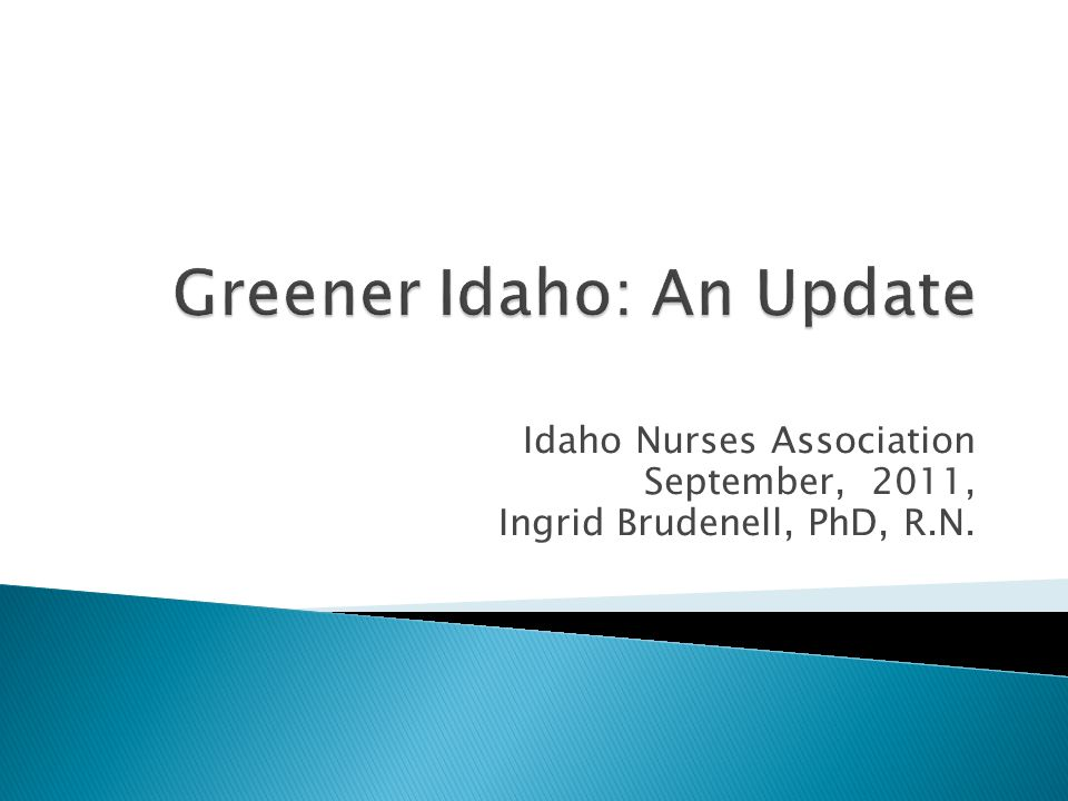 Idaho Nurses Association September, 2011, Ingrid Brudenell, PhD, R.N.