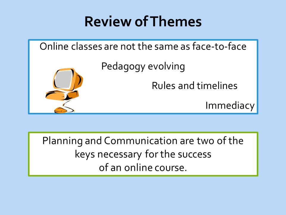 Planning and Communication are two of the keys necessary for the success of an online course.