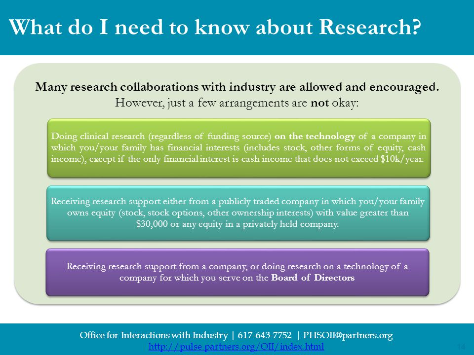 14 Office for Interactions with Industry | 617-643-7752 | PHSOII@partners.org http://pulse.partners.org/OII/index.html 14 What do I need to know about Research.