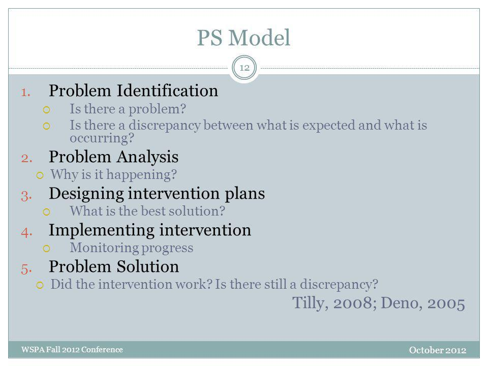 PS Model 1. Problem Identification  Is there a problem.