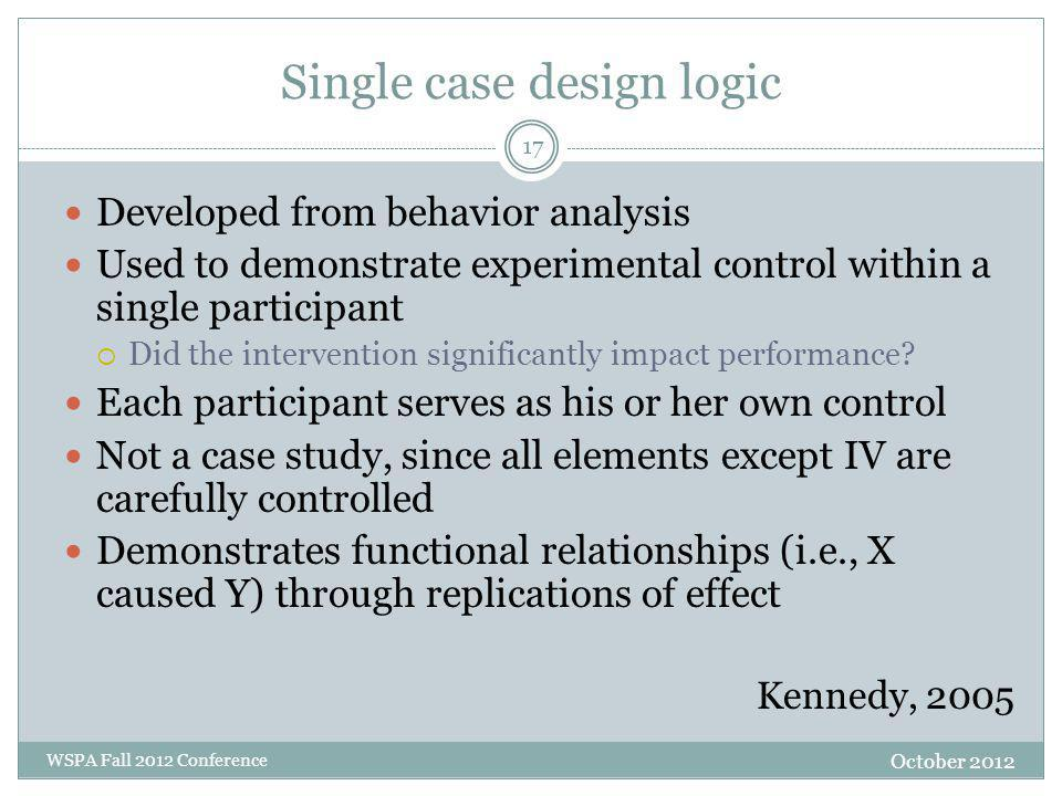 Single case design logic Developed from behavior analysis Used to demonstrate experimental control within a single participant  Did the intervention