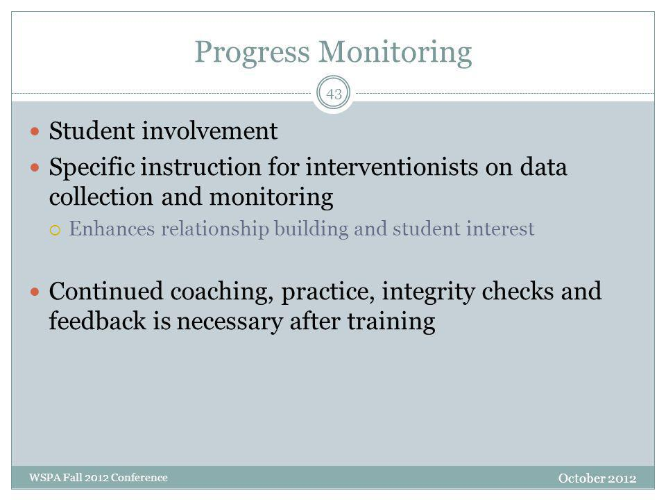 Progress Monitoring Student involvement Specific instruction for interventionists on data collection and monitoring  Enhances relationship building a
