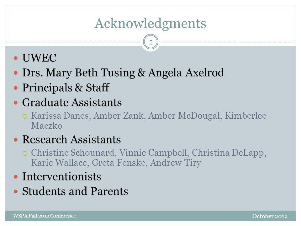 Acknowledgments October 2012 WSPA Fall 2012 Conference UWEC Drs.