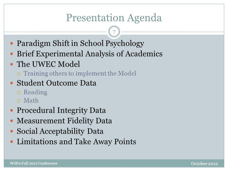 Presentation Agenda October 2012 WSPA Fall 2012 Conference Paradigm Shift in School Psychology Brief Experimental Analysis of Academics The UWEC Model