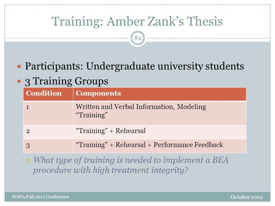 Training: Amber Zank's Thesis Participants: Undergraduate university students 3 Training Groups  What type of training is needed to implement a BEA procedure with high treatment integrity.