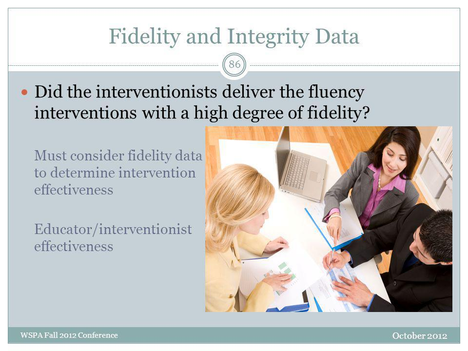 Fidelity and Integrity Data October 2012 WSPA Fall 2012 Conference Did the interventionists deliver the fluency interventions with a high degree of fidelity.