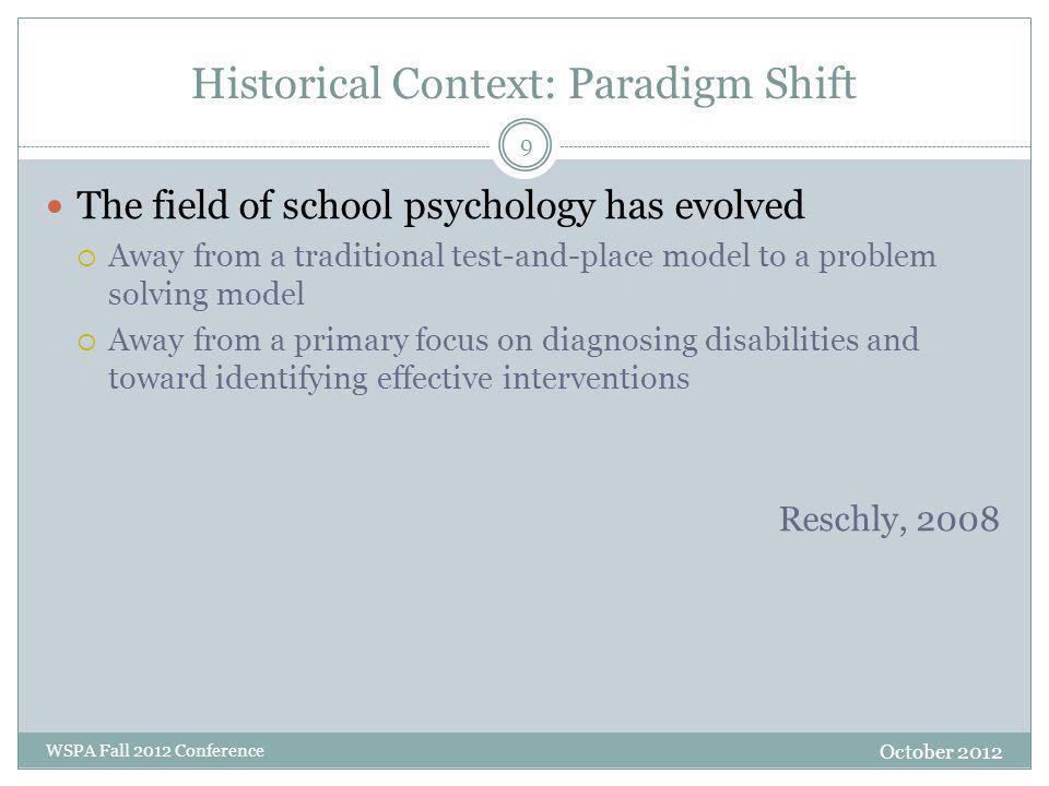 Historical Context: Paradigm Shift The field of school psychology has evolved  Away from a traditional test-and-place model to a problem solving mode