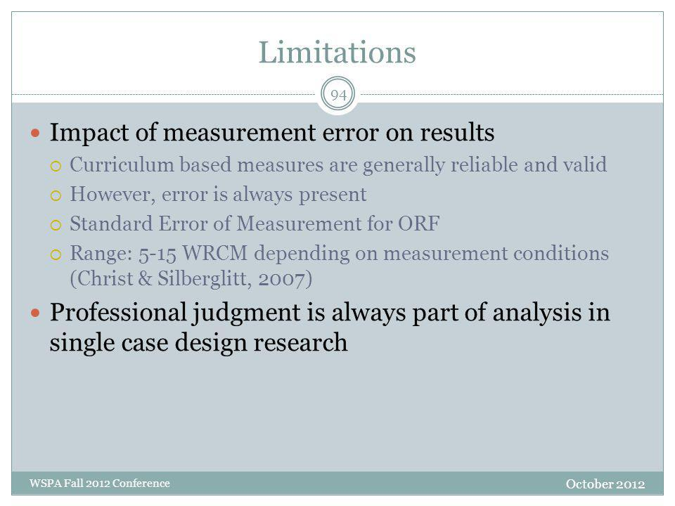 Limitations Impact of measurement error on results  Curriculum based measures are generally reliable and valid  However, error is always present  S