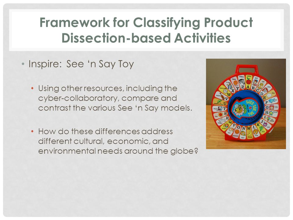 Framework for Classifying Product Dissection-based Activities Inspire: See 'n Say Toy Using other resources, including the cyber-collaboratory, compare and contrast the various See 'n Say models.