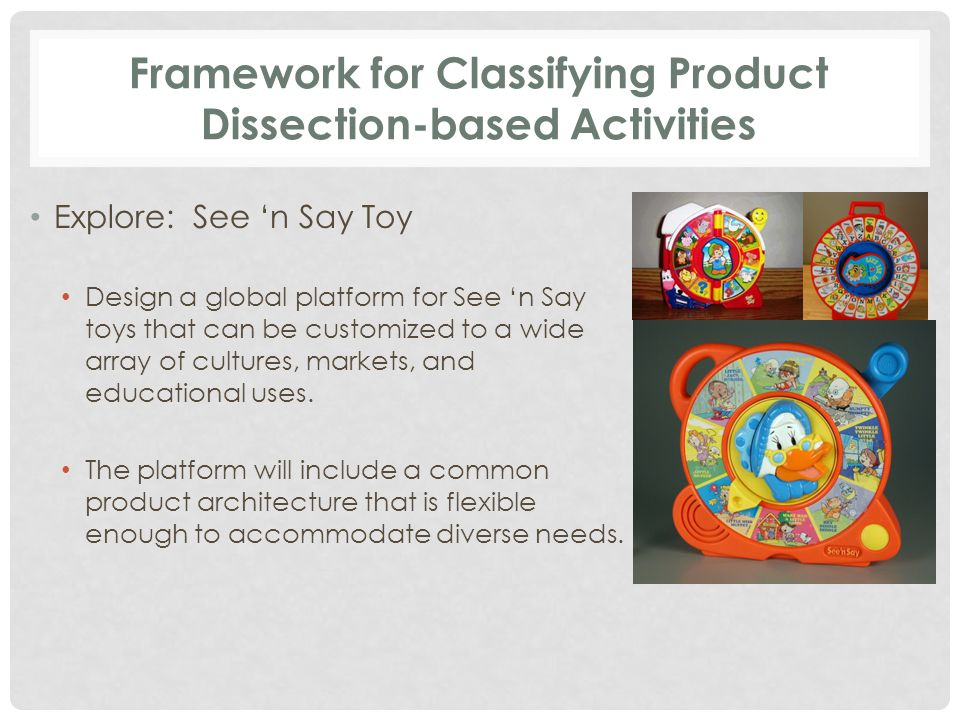 Framework for Classifying Product Dissection-based Activities Explore: See 'n Say Toy Design a global platform for See 'n Say toys that can be customized to a wide array of cultures, markets, and educational uses.