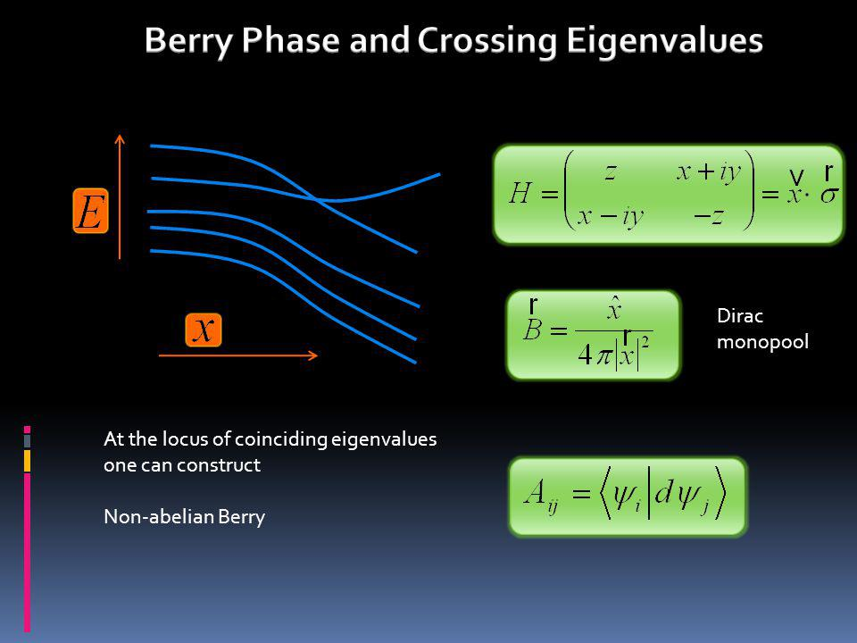 Dirac monopool At the locus of coinciding eigenvalues one can construct Non-abelian Berry