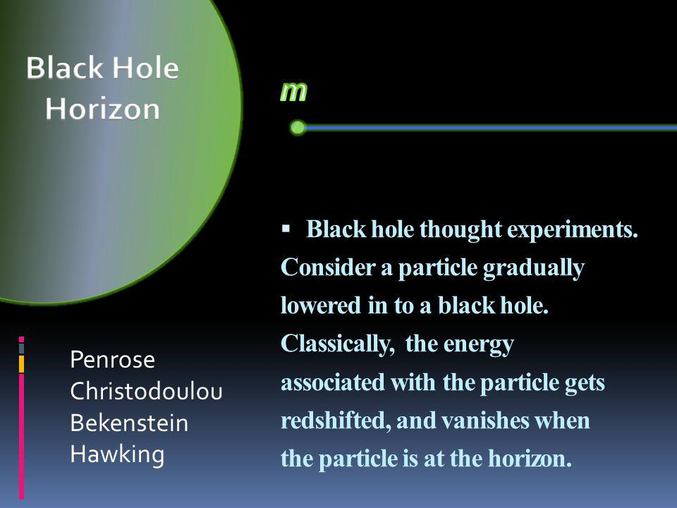  Black hole thought experiments. Consider a particle gradually lowered in to a black hole.