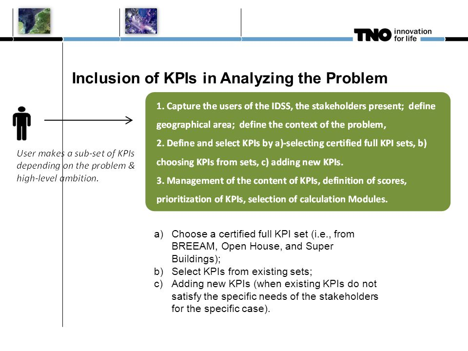 Inclusion of KPIs in Analyzing the Problem a)Choose a certified full KPI set (i.e., from BREEAM, Open House, and Super Buildings); b)Select KPIs from