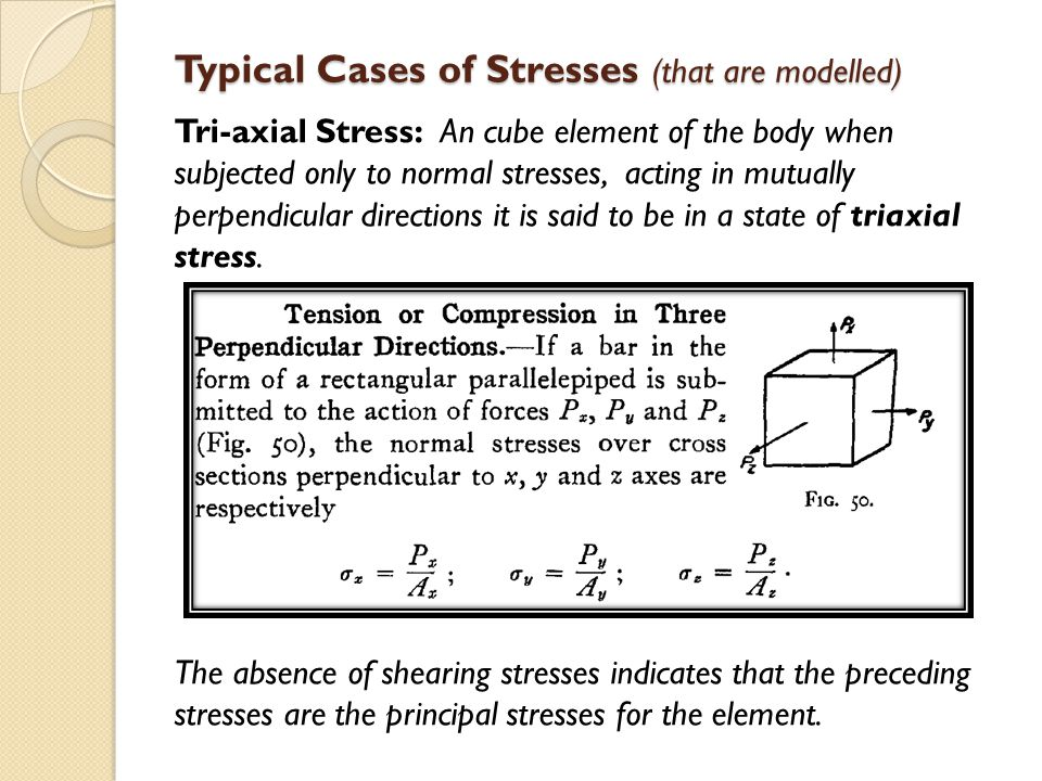 Typical Cases of Stresses (that are modelled) Tri-axial Stress: An cube element of the body when subjected only to normal stresses, acting in mutually