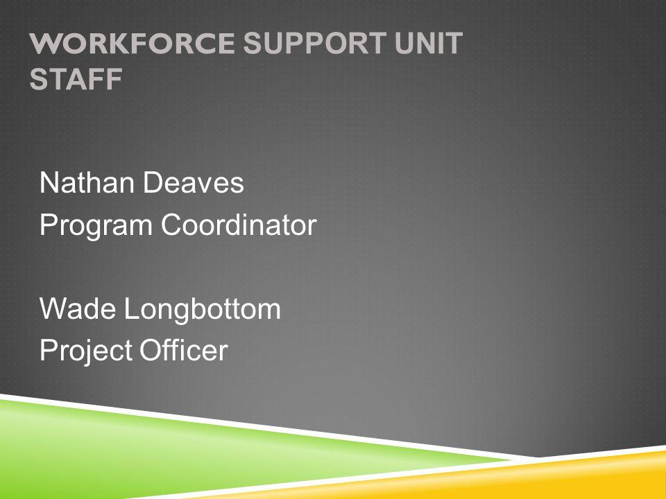 WORKFORCE SUPPORT UNIT STAFF Nathan Deaves Program Coordinator Wade Longbottom Project Officer