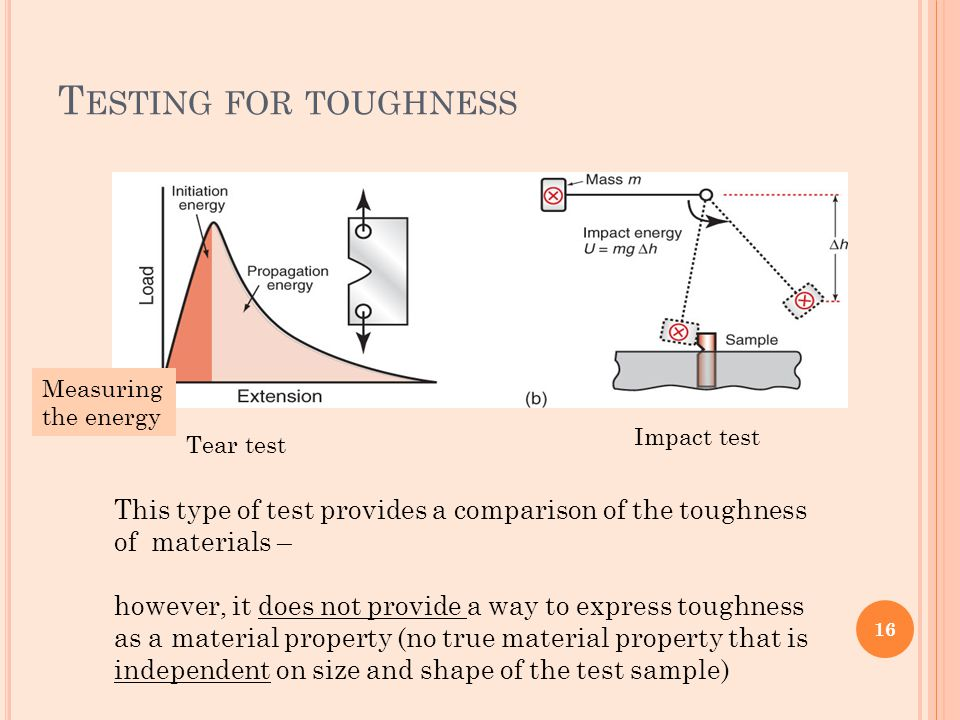T ESTING FOR TOUGHNESS This type of test provides a comparison of the toughness of materials – however, it does not provide a way to express toughness