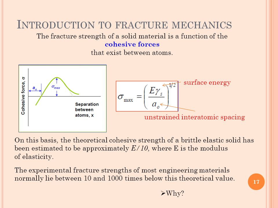 I NTRODUCTION TO FRACTURE MECHANICS The fracture strength of a solid material is a function of the cohesive forces that exist between atoms. On this b