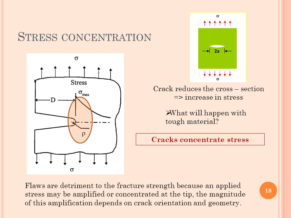 S TRESS CONCENTRATION Crack reduces the cross – section => increase in stress  What will happen with tough material? Cracks concentrate stress Flaws