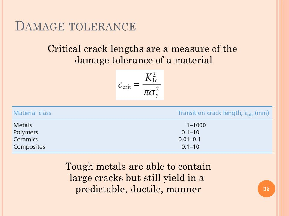 Tough metals are able to contain large cracks but still yield in a predictable, ductile, manner Critical crack lengths are a measure of the damage tol