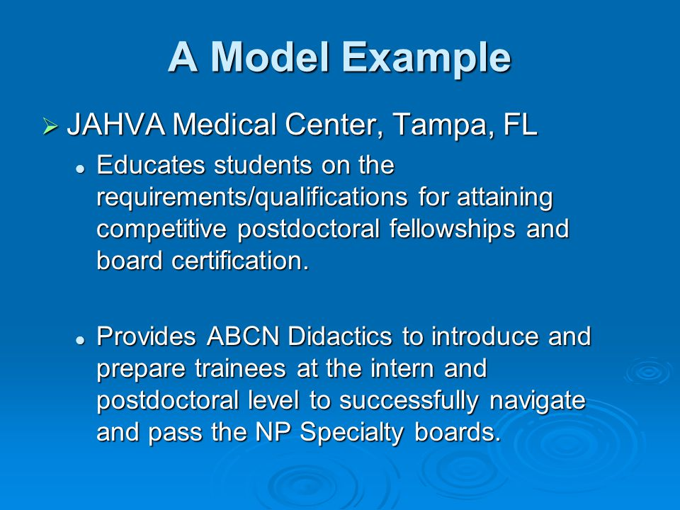 A Model Example  JAHVA Medical Center, Tampa, FL Educates students on the requirements/qualifications for attaining competitive postdoctoral fellowships and board certification.