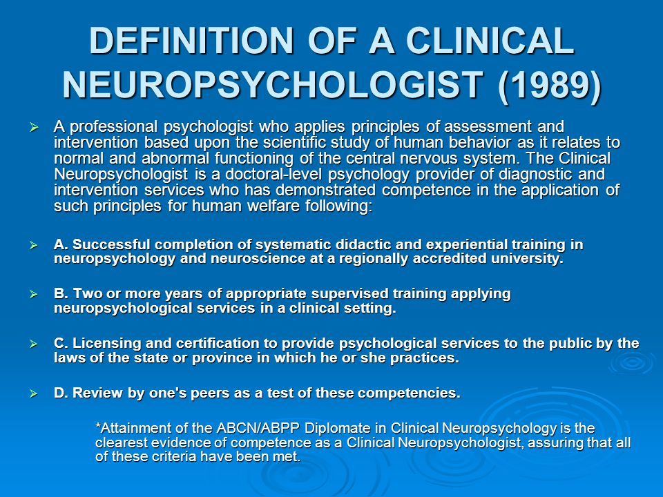 Selection Criteria for Clinical Neuropsychology Internships  Supervisors of 50 Clinical Neuropsych internships (Cripes 1995, 1998) were asked to rank order criteria used for selecting intern applicants.