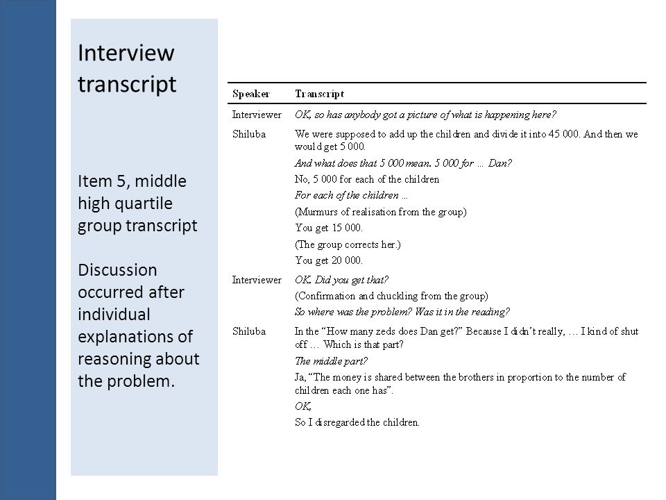 Interview transcript Item 5, middle high quartile group transcript Discussion occurred after individual explanations of reasoning about the problem.