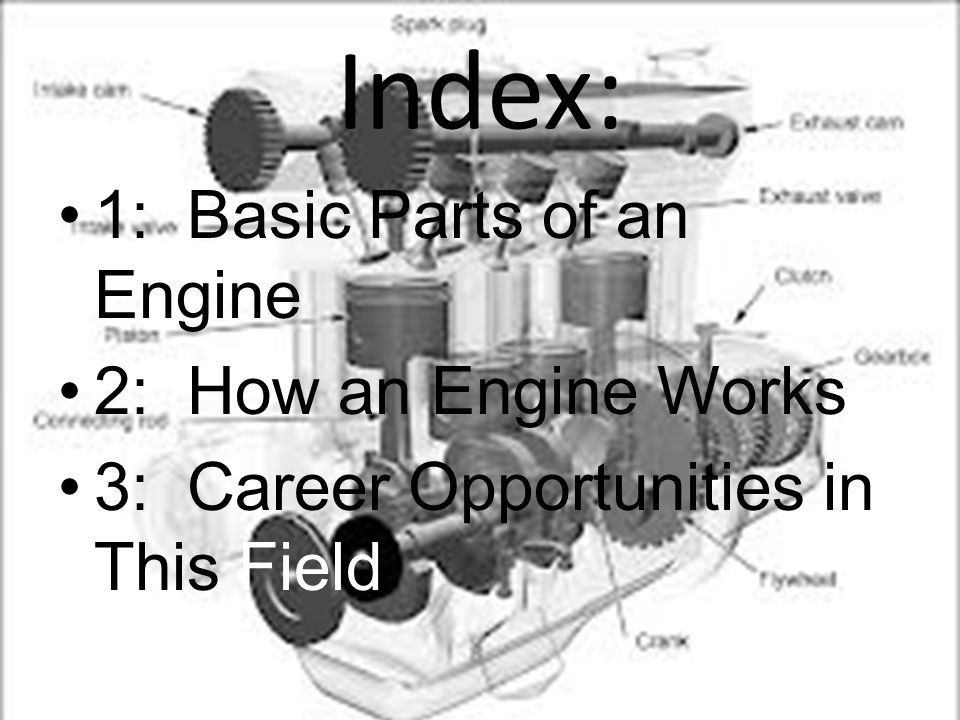 Index: 1: Basic Parts of an Engine 2: How an Engine Works 3: Career Opportunities in This Field