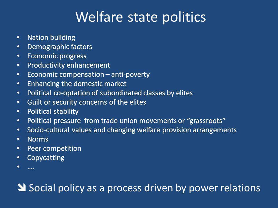 Welfare state politics Nation building Demographic factors Economic progress Productivity enhancement Economic compensation – anti-poverty Enhancing t