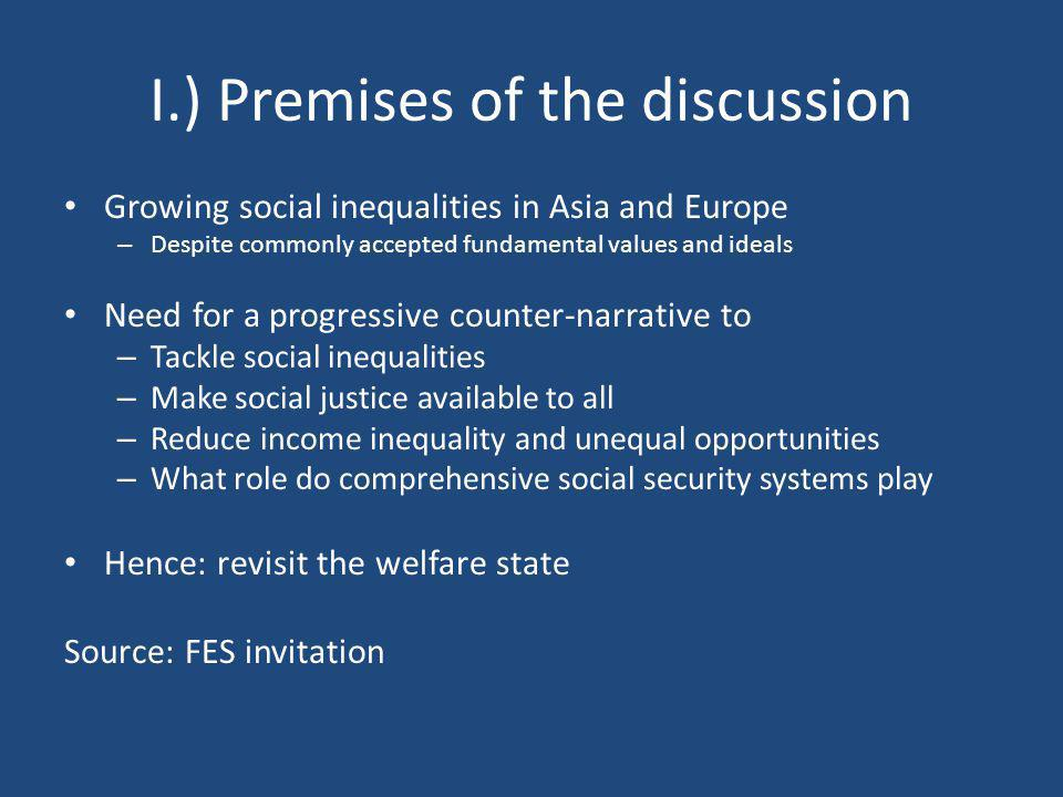 I.) Premises of the discussion Growing social inequalities in Asia and Europe – Despite commonly accepted fundamental values and ideals Need for a pro