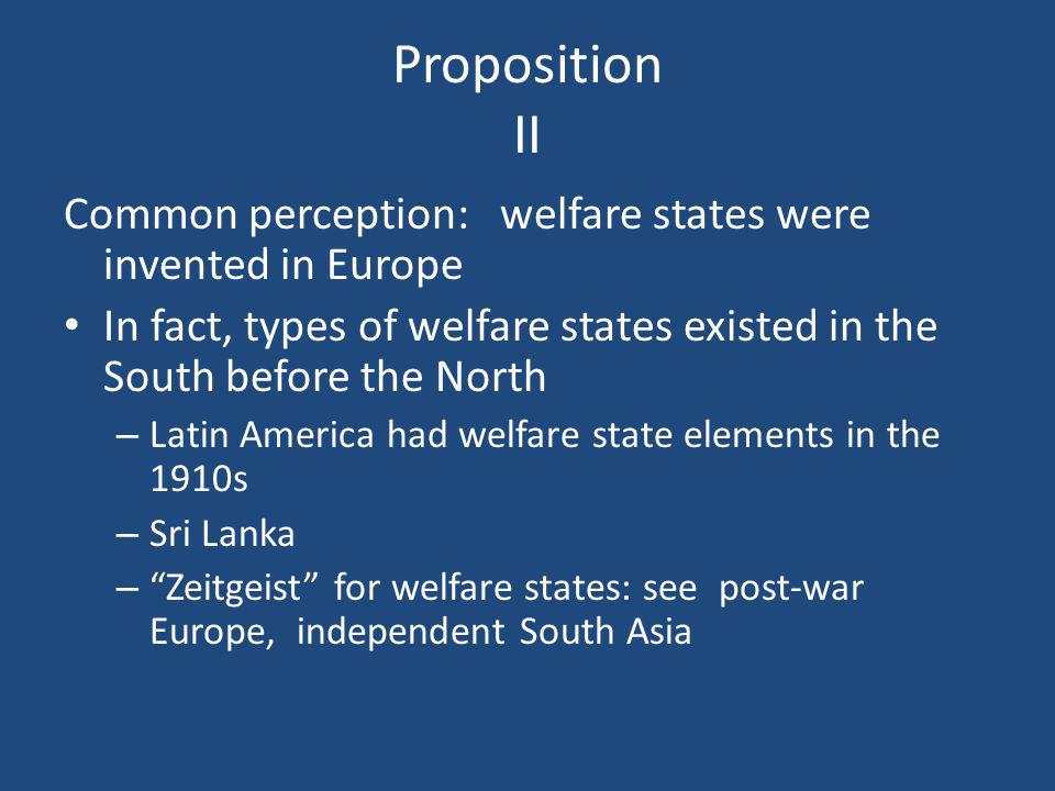 Proposition II Common perception: welfare states were invented in Europe In fact, types of welfare states existed in the South before the North – Lati