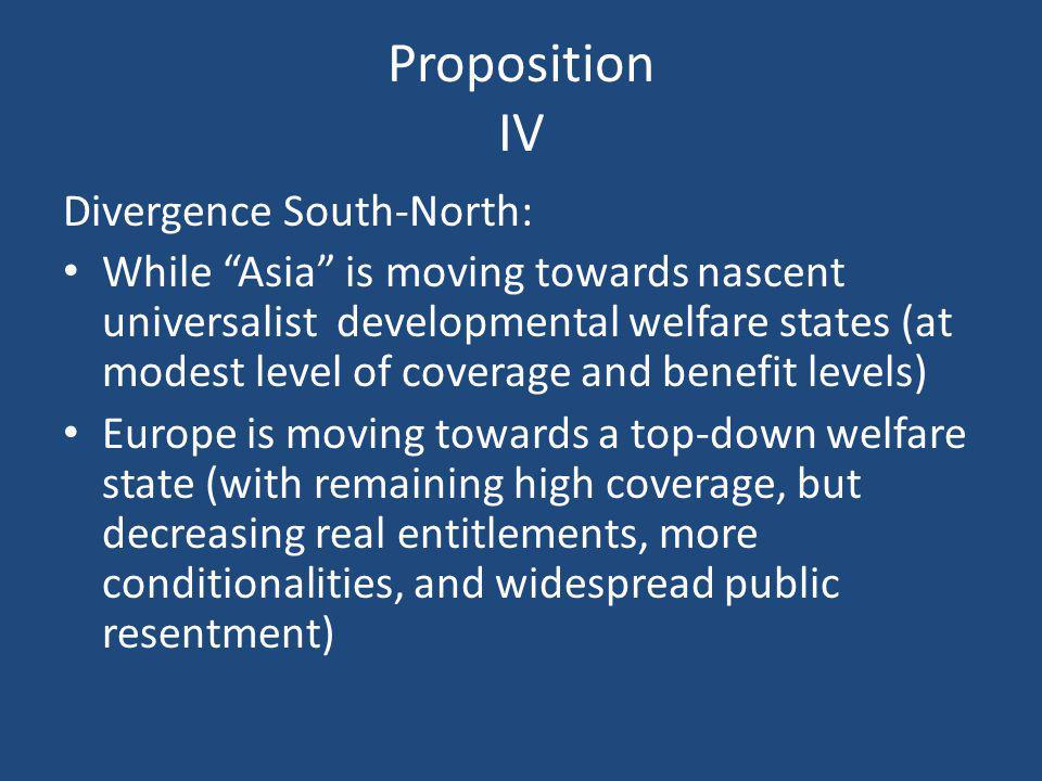 """Proposition IV Divergence South-North: While """"Asia"""" is moving towards nascent universalist developmental welfare states (at modest level of coverage a"""