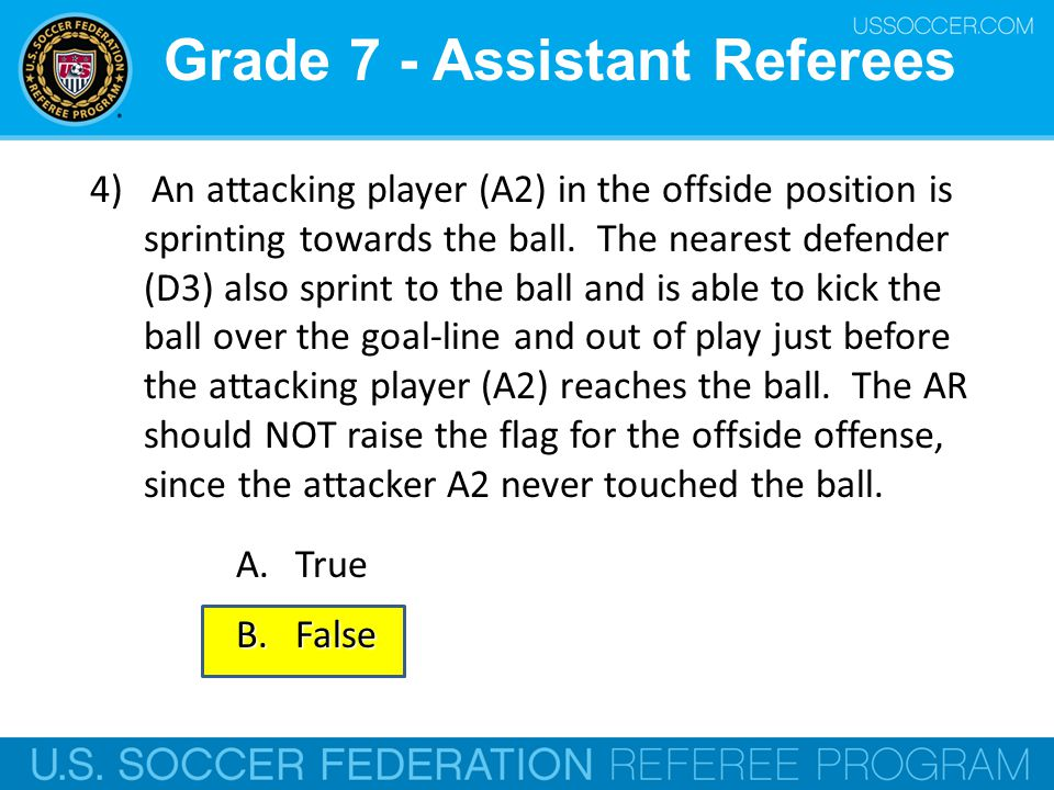 Grade 7 - Assistant Referees 4) An attacking player (A2) in the offside position is sprinting towards the ball. The nearest defender (D3) also sprint