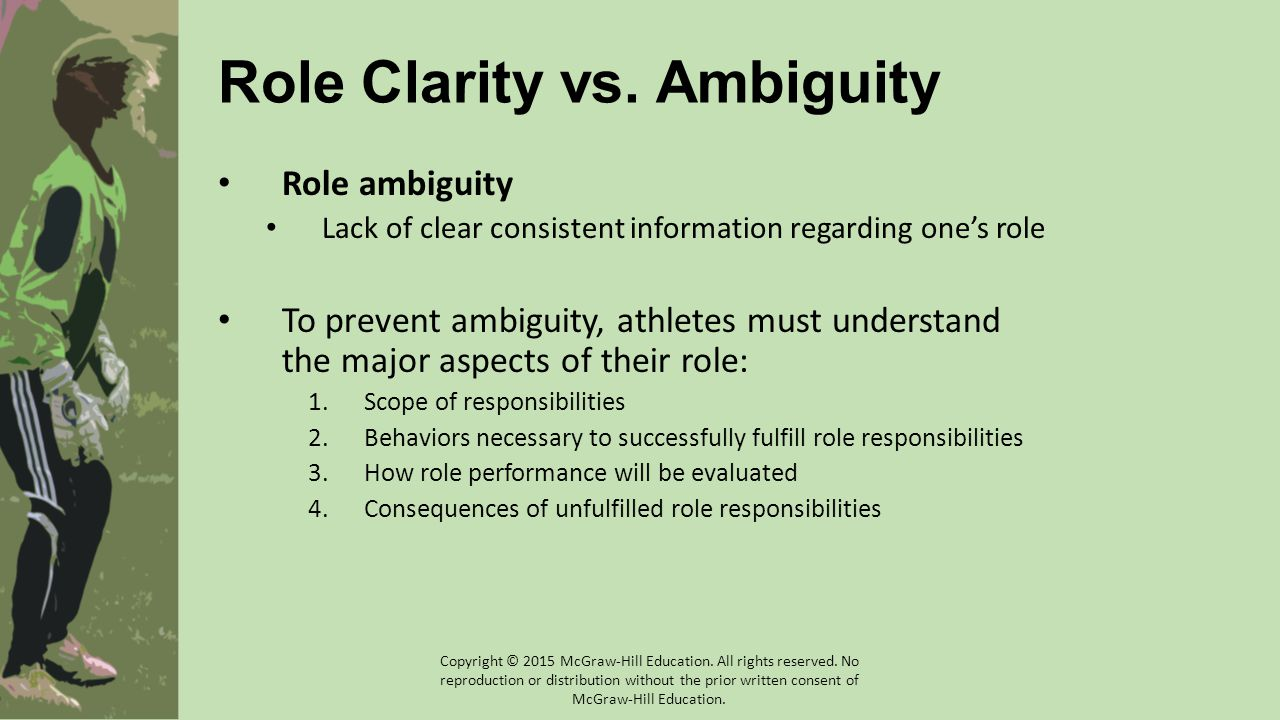 Role Clarity vs. Ambiguity Role ambiguity Lack of clear consistent information regarding one's role To prevent ambiguity, athletes must understand the