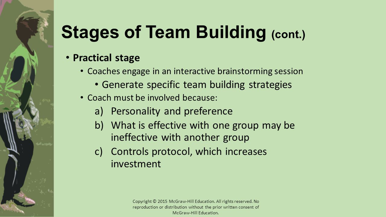 Stages of Team Building (cont.) Practical stage Coaches engage in an interactive brainstorming session Generate specific team building strategies Coac