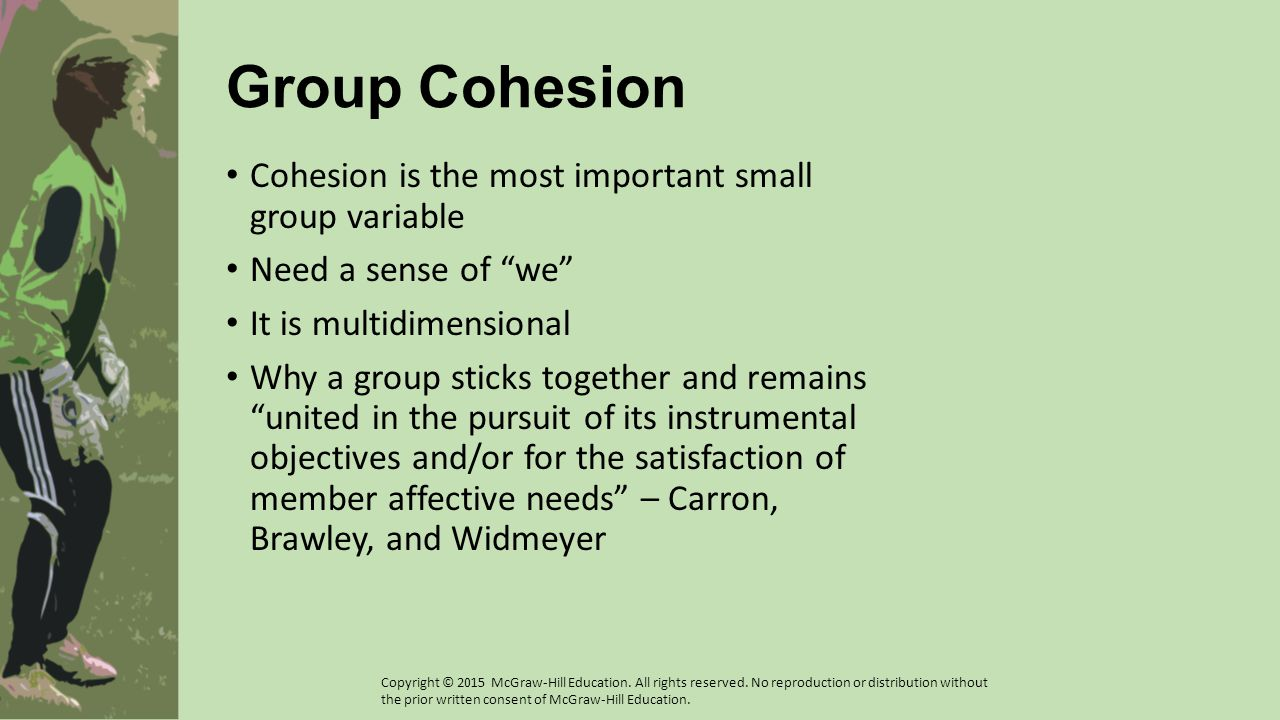 Cohesion Depends on Perception Perception can come from a group's members or other groups Unity within a group manifests in two principal ways: in relation to the group's task and in terms of the social aspects of the unit Additionally, cohesion for individuals depends on: Group integration – Each individual's perceptions of the group as a total unit, set, or collection Individual attractions to the group – Each individual s personal attractions to the group Copyright © 2015 McGraw-Hill Education.