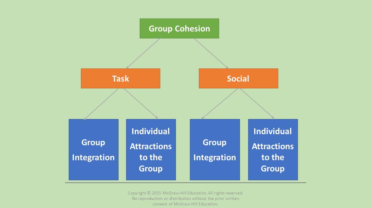 Correlates of Cohesiveness Personal Factors Team Factors Environmental Factors Leadership Factors Cohesion in Sport Teams Cohesion in Sport Teams Copyright © 2015 McGraw-Hill Education.