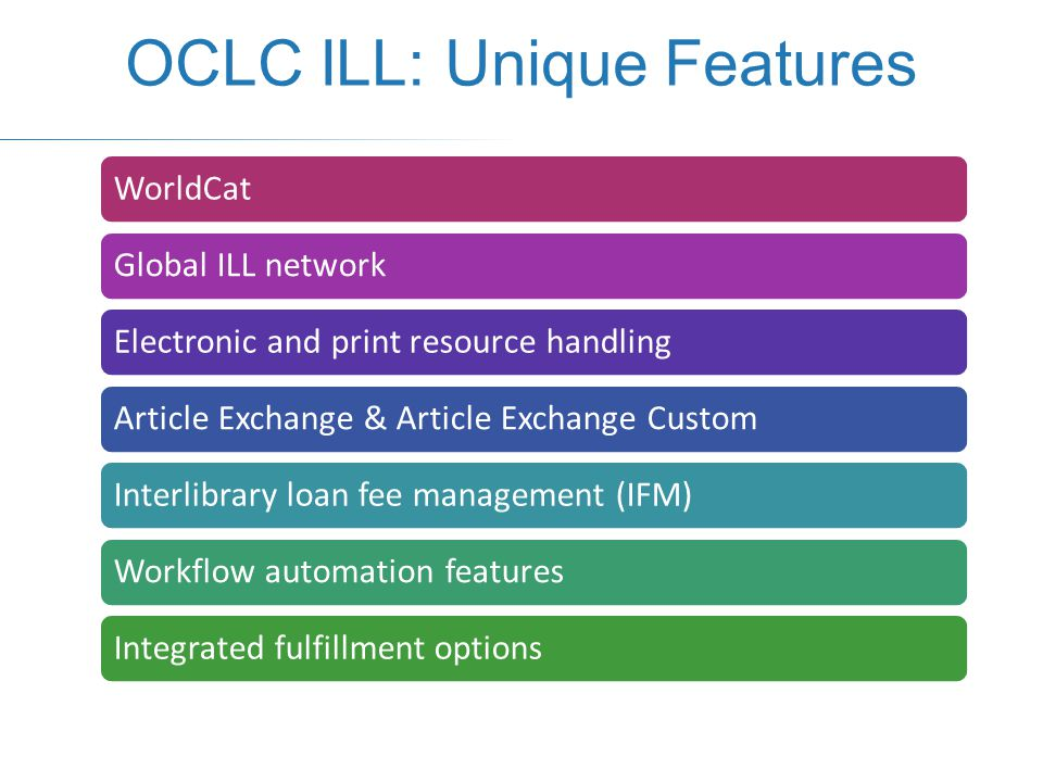 WorldCatGlobal ILL networkElectronic and print resource handlingArticle Exchange & Article Exchange CustomInterlibrary loan fee management (IFM)Workflow automation featuresIntegrated fulfillment options OCLC ILL: Unique Features