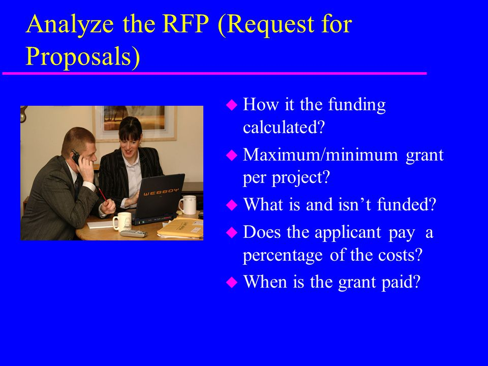 Analyze the RFP (Request for Proposals) u How it the funding calculated.